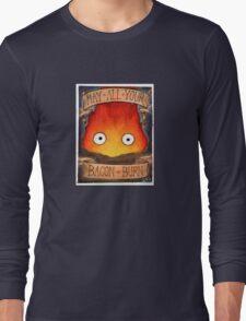 Howl's Moving Castle Illustration - CALCIFER (original)  Long Sleeve T-Shirt