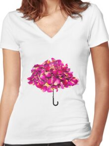 Umbrella made of roses Women's Fitted V-Neck T-Shirt