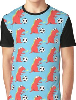 Blue Funny Cartoon Dinosaur Football Graphic T-Shirt