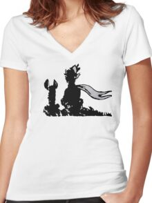 The LITTLE PRINCE and the FOX - stencil grey version Women's Fitted V-Neck T-Shirt
