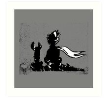 The LITTLE PRINCE and the FOX - stencil grey version Art Print
