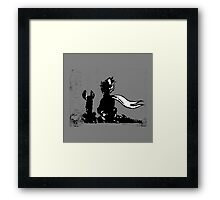 The LITTLE PRINCE and the FOX - stencil grey version Framed Print