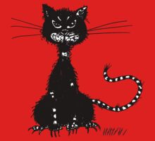Red Ragged Evil Black Cat One Piece - Short Sleeve