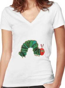 The Very Hungry Caterpillar  Women's Fitted V-Neck T-Shirt