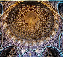 Ornate Dome of an Iranian Mosque by pixog