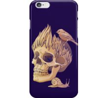 colorful illustration with skull, bird and snail iPhone Case/Skin