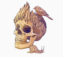 colorful illustration with skull, bird and snail Unisex T-Shirt