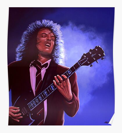 Angus Young of AC / DC painting Poster