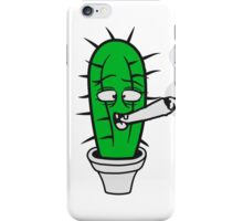 cactus pothead weed joint drug smoking hemp cannabis bong cigar funny comic face weed stoned iPhone Case/Skin