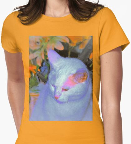 Kitty in front of basket Womens Fitted T-Shirt