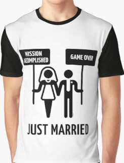 Just Married – Mission Accomplished – Game Over (Black) Graphic T-Shirt