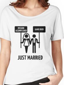Just Married – Mission Accomplished – Game Over (Black) Women's Relaxed Fit T-Shirt