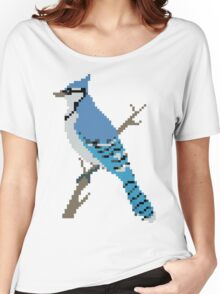 Pixel Blue Jay Women's Relaxed Fit T-Shirt