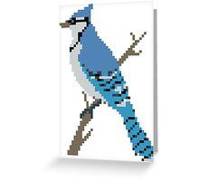 Pixel Blue Jay Greeting Card