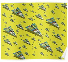 CRACKED Paper Airplane 109 Pattern Poster