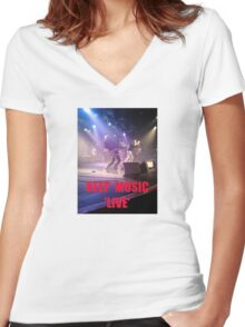 Music Keep Music 'Live' Women's Fitted V-Neck T-Shirt