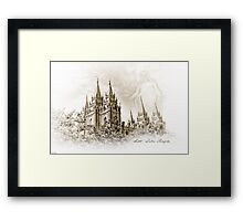 PhotoSketch - Salt Lake Temple Framed Print