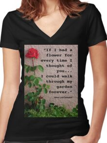 If I had a flower... Women's Fitted V-Neck T-Shirt