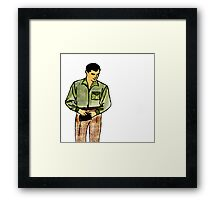 Retro Pop Art Portrait Male with Wallet Framed Print