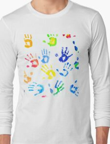 Rainbow Colors Arm Prints Abstract Long Sleeve T-Shirt