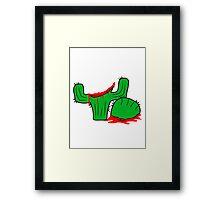 horror halloween bloody murder from head decapitated blood evil cactus comic cartoon Framed Print