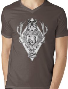 Wolf Ram Hart Mens V-Neck T-Shirt