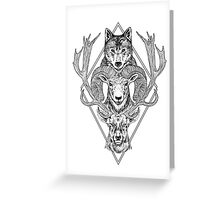 Wolf Ram Hart Greeting Card