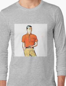 Pop Art Retro Modern Male Portrait with Pipe Long Sleeve T-Shirt