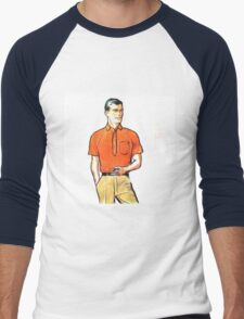 Pop Art Retro Modern Male Portrait with Pipe Men's Baseball ¾ T-Shirt