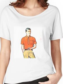 Pop Art Retro Modern Male Portrait with Pipe Women's Relaxed Fit T-Shirt