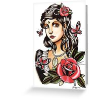 Butterfly Girl - tattoo Greeting Card