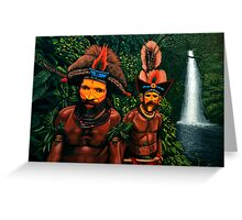 Huli men in the jungle of Papua New Guinea Painting Greeting Card
