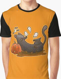 Playful Halloween Kitty Graphic T-Shirt