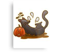 Playful Halloween Kitty Metal Print