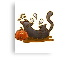 Playful Halloween Kitty Canvas Print