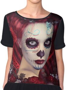 Sugar Doll Red Dia De Muertos Chiffon Top