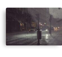 A Rainy Night In Lisbon. Metal Print