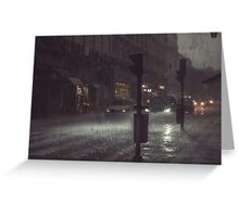 A Rainy Night In Lisbon. Greeting Card