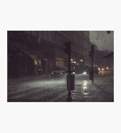 A Rainy Night In Lisbon. Photographic Print