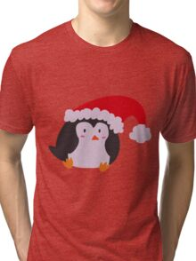 Christmas Hat Penguin Tri-blend T-Shirt