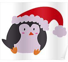 Christmas Hat Penguin Poster