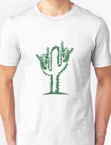 hard rock heavy metal hand gesture horns satan devil evil hands music party celebrate funny cactus Unisex T-Shirt
