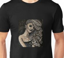 Black and White Curly Girl Unisex T-Shirt