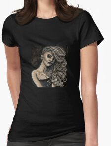 Black and White Curly Girl Womens Fitted T-Shirt