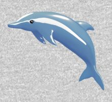 Cute 3D Blue Dolphin - White Background Baby Tee