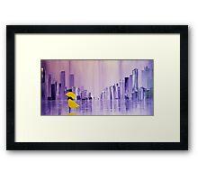 Yellow Coat And Purple Rain Framed Print