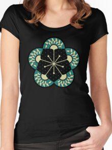 Geometric Heliconia Fan Pattern Women's Fitted Scoop T-Shirt