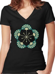 Geometric Heliconia Fan Pattern Women's Fitted V-Neck T-Shirt
