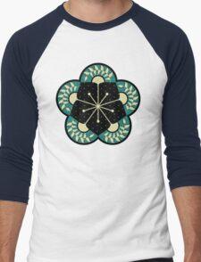 Geometric Heliconia Fan Pattern Men's Baseball ¾ T-Shirt