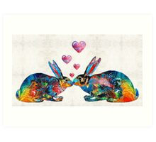 Bunny Rabbit Art - Hopped Up On Love - By Sharon Cummings Art Print